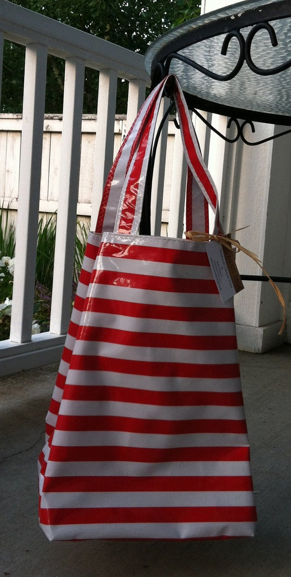 Beth's Red Stripes Oilcloth Mark Sac