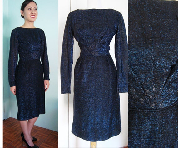 Rare 50s Midnite Blue LUREX Cocktail Dress