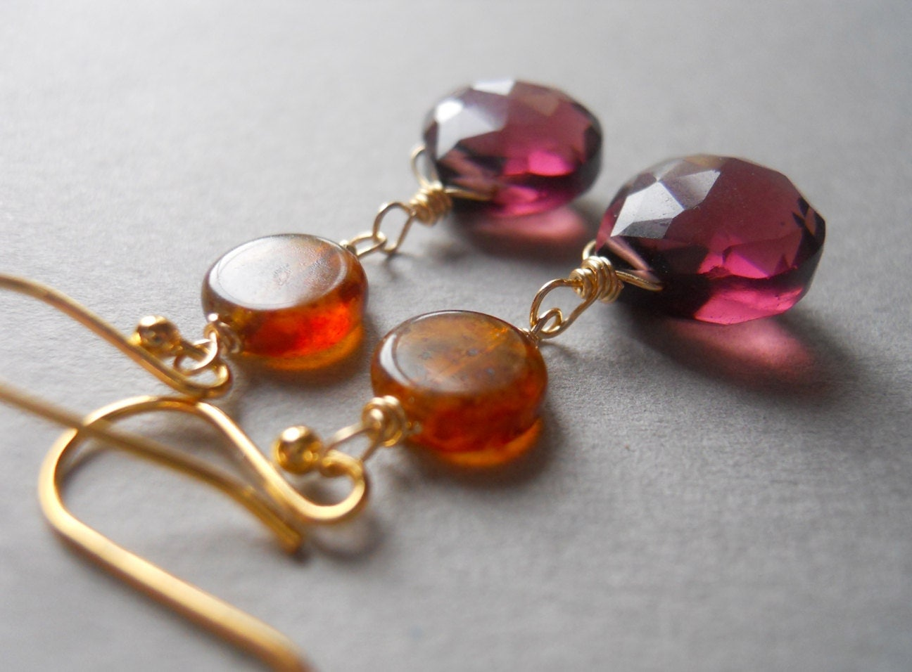 Sangria plum quartz and Czech glass earrings - $48.00 USD