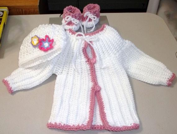 دستباف قلاب دوزی کودک سفید ژاکت کلاه booties مجموعه 03/06 مو آماده به کشتی است.