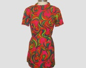 1960s mini dress / vintage 60s dress / mod / medium m / Neon Swirl Mod Mini Dress