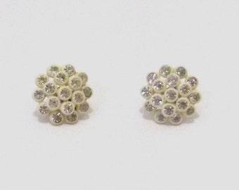1960s vintage earrings / 60s rhinestone earrings / Rhinestone Cloud Earrings