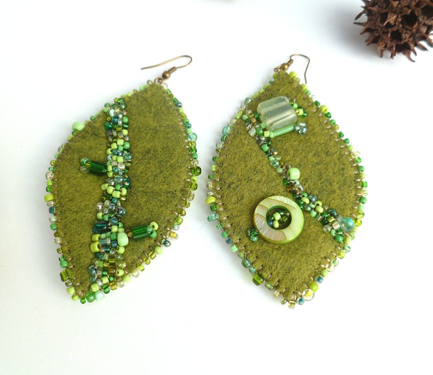 Green leaf earrings bead embroidery felt fiber art