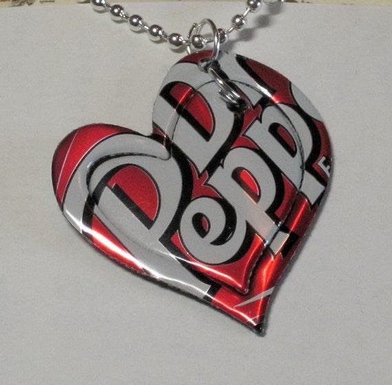 Recycled Necklace from Aluminum Soda Pop Dr Pepper Can