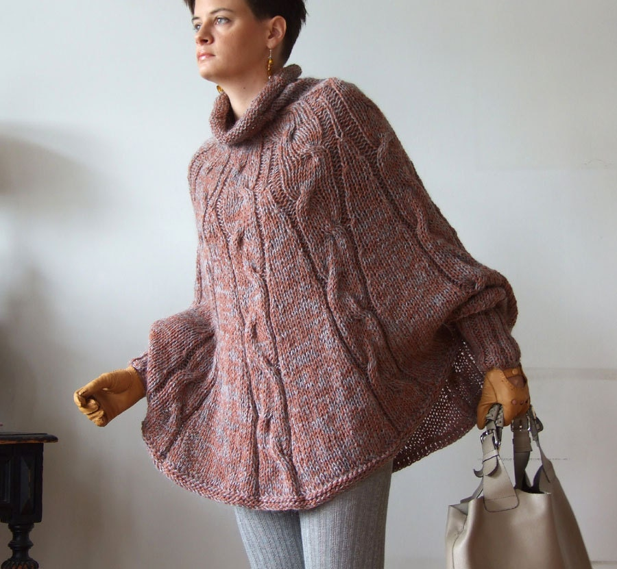 Knitting Pattern For Cape With Sleeves : Hand knitted poncho braided cape sweater avant garde traffic