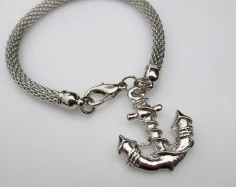 Anchor Bracelet, Silver Anchor Charm, Anchor Charm Bracelet, Mess Bracelet, Beach Bracelet, Sea Life, Ocean Themed