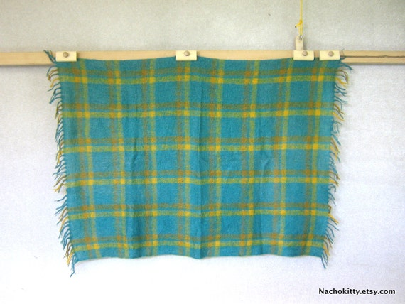 Cozy Mohair Blanket, Vintage 1950s Greens, Blues & Yellows
