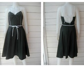 Vintage 80s Black Full Skirt Tea Dress / Jerell of Texas / Sz S-M