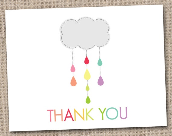 Printable Thank You Card Design - Shower Cloud Grey - INSTANT DOWNLOAD