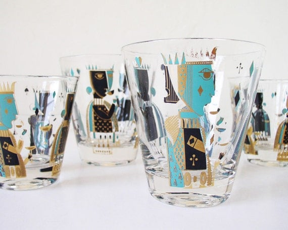 King and Queen illustrated glassware