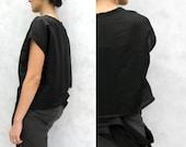 Ribbon Peel Linen Top - Modern Minimalist, Ribbon Peel Hem in Midnight Black
