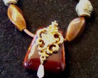original art pendant -brownstone pearl