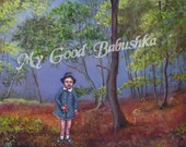The Last I Saw Gretel  Print, Fairy Tale, Folk Tale, Storybook Art, Hansel and Gretel, Witch, Dark Forest, Lost Girl, Candy, Macabre