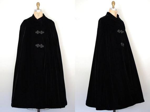black velvet cape / velvet cloak / black cloak / black silk riding cape / Interrupted Journey cape