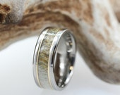 Titanium Ring with Deer Antler, Two Yellow Gold Pinstripes, Ring Armor Included