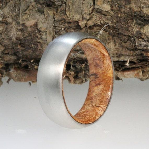 Sindora Wood Ring, Brushed Titanium Wedding Band, Men or Women's Ring