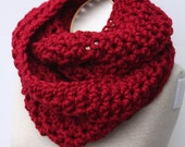 Cranberry Scarf, Chunky Knit Scarf, Red Scarf, Chunky Infinity Scarf, Snood,