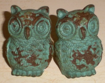 Cottage Chic Owl Aqua Blue Distressed Cast Iron Drawer Knob Pull Knobs Set of 2