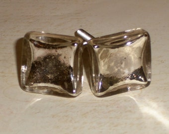 French Country Mercury Glass Silver Square Hollow Drawer Knob Pulls Set of 2