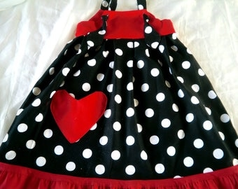 KNOT DRESS in Red and Black with white dots