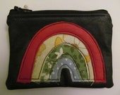 black recycled leather rainbow applique coin zipper change purse pouch FREE UK SHIPPING