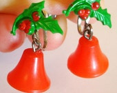 vintage holly and bells holiday earrings