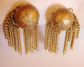 vintage dangling gold sea creature clip on earrings UPCYCLE or WEAR
