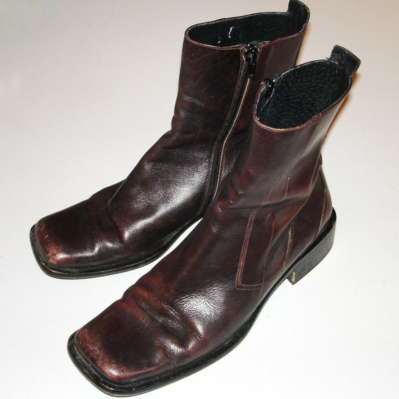 hipster vintage Charles David brown leather ankle boots 38.5 8.5 - 9