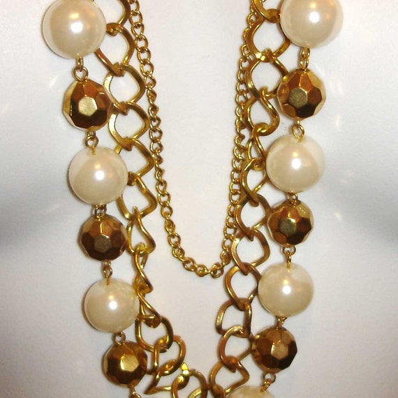 vintage gold chains, beads, and pearls bib necklace