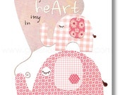 I carry your heart in my heart - baby nursery decor - children wall art - kids elephant pink - print