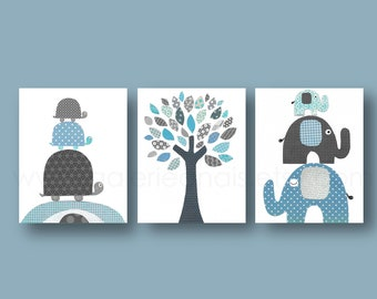 Turtle elephant tree  Nursery wall art nursery print baby nursery kids art children wall art blue gray Set of three prints