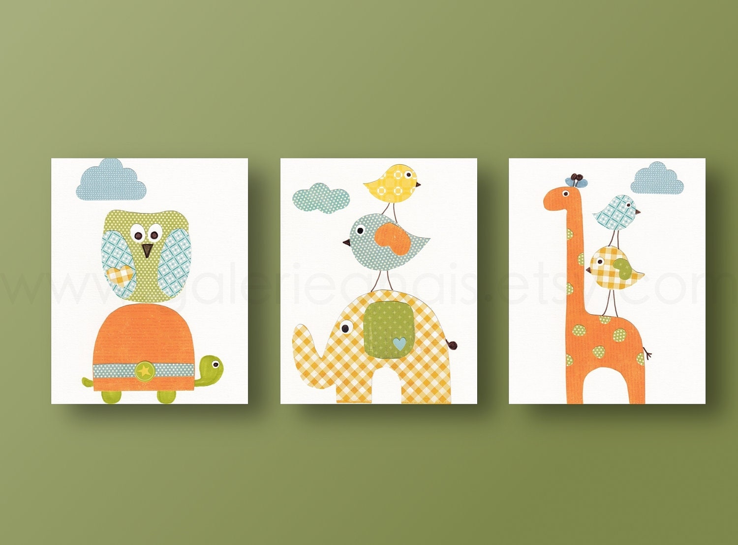 Giraffe owls bird elephant orange yellow and blue baby for Chambre 8x10