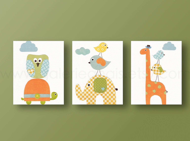 Giraffe owls bird elephant orange yellow and blue baby for Chambre 8x10