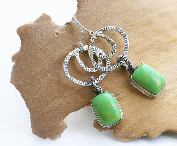 Abstract Silver Gemstone Earrings, Green Gaspeite Charms, Sterling Silver, Wire Wrapped, Rustic Silver Tribal Southwestern Jewelry