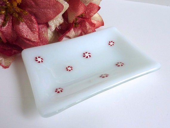 White Glass Rectangular Dish with Peppermint Holiday Decor
