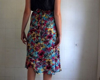 Pure Silk Hawaiian Print - Wrap Skirt  -  made by kathrin kneidl for resplendent rags