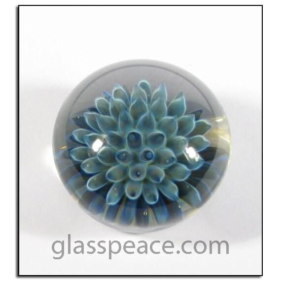 Blue Sea Anemone Glass Cabochon - Handmade Jewelry Supplies - Boro Lampwork Glass Cab (4016)