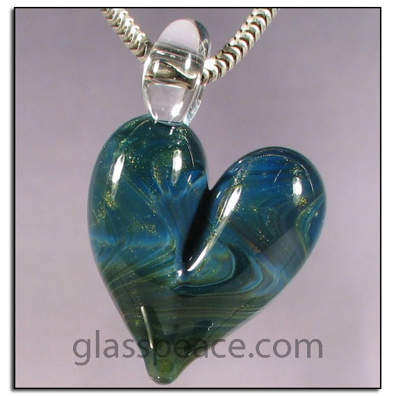 SALE - Sparkling Green and Blue Glass Heart Pendant - Boro Lampwork Necklace Focal - Hand Blown Glass Jewelry (4403)
