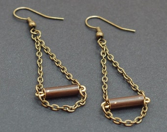 Brass Bar & Chain Earrings- Oxidized Brass Tube Jewelry, Boho Jewelry, Salvaged Metal Earrings, Recycled Jewelry, Brown Earrings