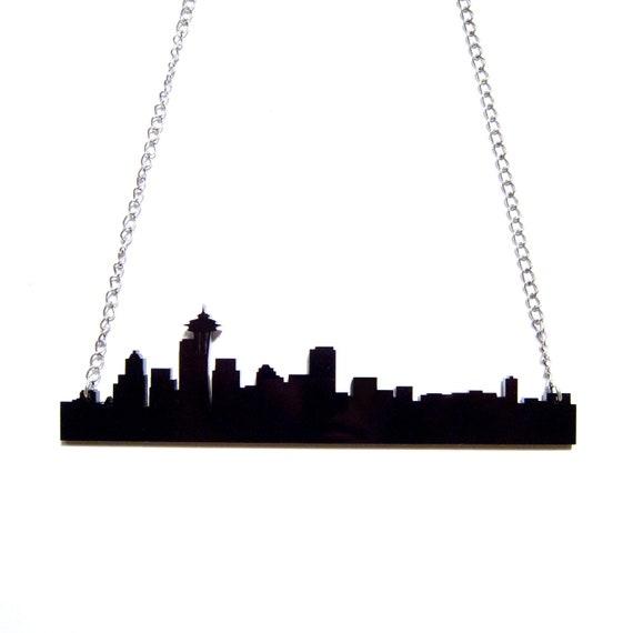 seattle skyline acrylic necklace