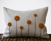 Rust Billy Ball Flower Pillow in Natural Linen by JillianReneDecor Billy Button Craspedia Botanical Fall Home Decor Copper Burnt Orange - JillianReneDecor