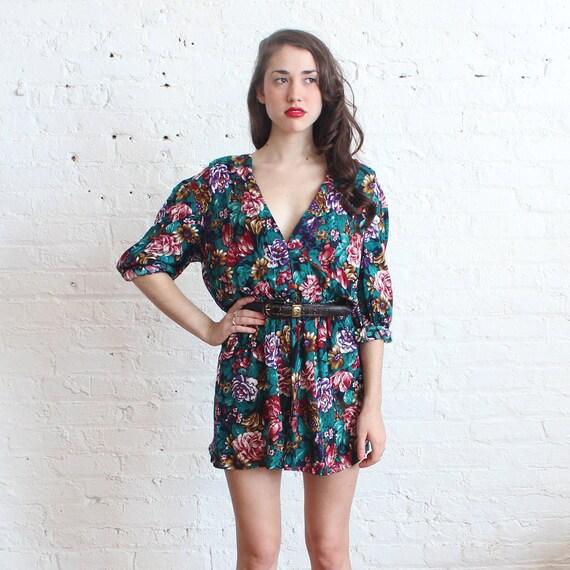deep v floral mini dress (s-m)