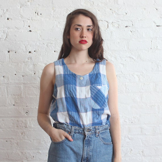 madras top sleeveless top tank top red white blue (s-m)