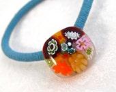 Ponytail Holder Millefiori Fused Glass Artisan Handmade Minnesota Handmade Hair Accessories Southwest Desert