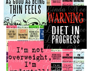 Instant Download - Weight Loss Quotes (1 x 1 inch) Square Images  SALE - Digital Collage Sheet printable stickers magnet button