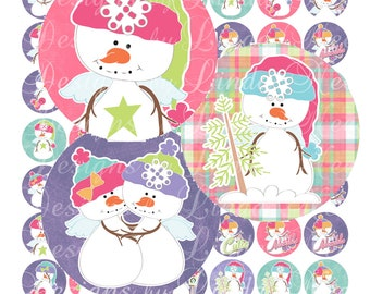 Instant Download - BRIGHT SNOWMAN (1 Inch Round) Bottlecap Images Digital Collage Sheet  SALE snow winter christmas printable