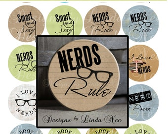 Pinback BUTTON Images 1 inch round 1.313 overall size - Nerds Rule Digital Collage Sheet AMERICAN BUTTON Machine Tecre