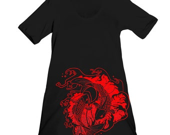 Black Japanese Fighting Koi Fish Screen Printed Crewneck Dress - Gifts For Her - Size S - Last One