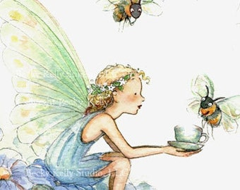 Bumble Bee Tea, Fairy Art Print, 8 X 10,  pretty print, gift for her, room art, fairy in periwinkle blues, with hand painting