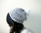 Slouch Hat Hand knitted in Light Gray with Faux Fur Pom Pom Fall and Winter Fashion Accessories